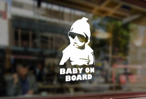 25cm Baby on board Vinyl Stickers Funny Decals Bumper Car Auto Computer Laptop Wall Window Glass Skateboard Snowboard Bananasticker