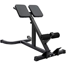 Hromee Hyperextension Bench Height Adjustable 45 Degree Back Hyper Extension Bench Abdominal Roman Chair, Black