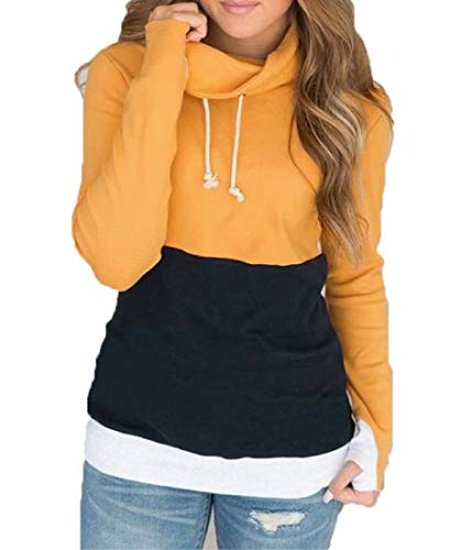 NEWCOSPLAY Women Hoodies-Tops Floral Printed Long Sleeve Drawstring Sweatshirt with Pocket (XL, 0054yellow)