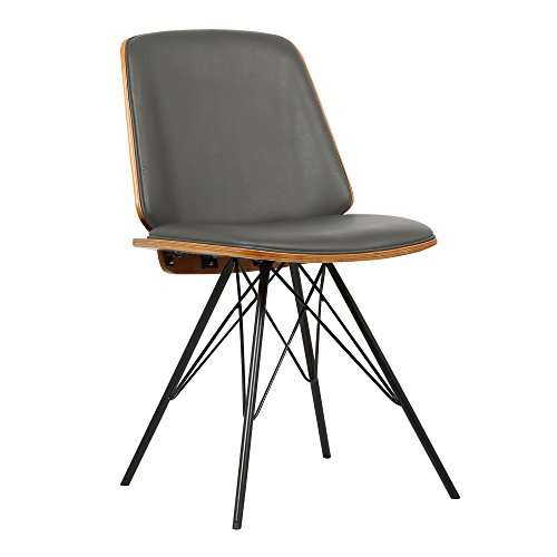 Armen Living LCINCHWAGREY Inez Dining Chair in Grey Faux Leather and Brushed Stainless Steel Finish
