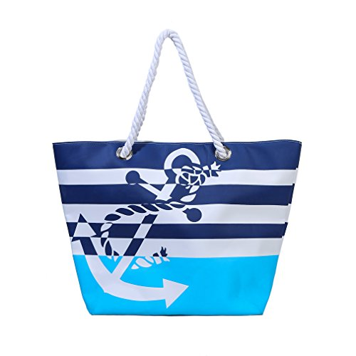 Waterproof Beach Bag Extra Large Summer Tote/Top Magnet Clasp Bag With Cotton Rope Handles (Blue)