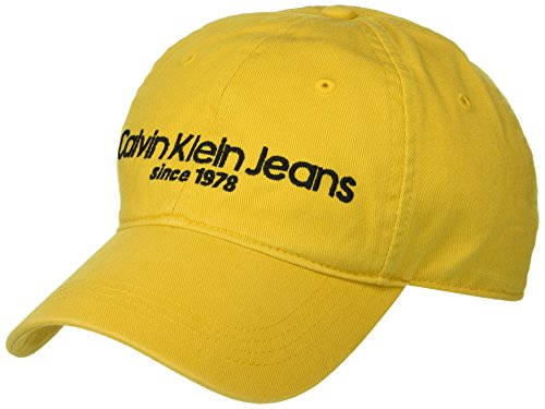 Calvin Klein Jeans Men's Embroidered Logo Baseball Hat, Spectra Yellow, One Size by Calvin Klein