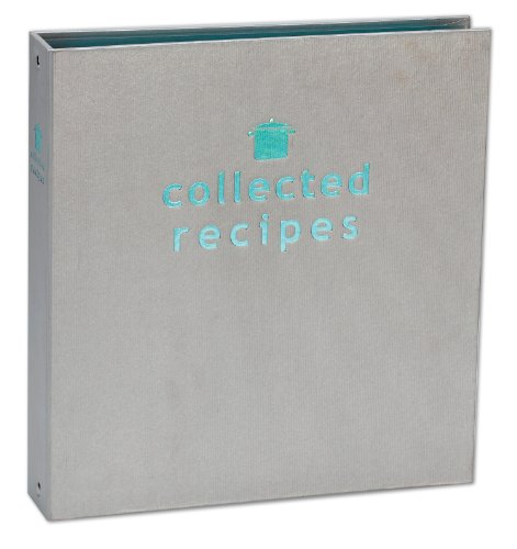 Create Your Own Collected Recipes Cookbook - Turquoise & Gray Archival Colored Binder