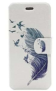 richera PU & Material TPU para iPhone se, elefante estampado de plumas de globo de gato funda tipo cartera para iPhone se, se Flip Cover Carcasa de Holster con Soporte Plegable para iPhone se, Creative dibujo (Painted cierre magnético Soporte cartera funda protectora con ranuras para tarjetas de creit + richera Llavero, plástico, Feather, iPhone SE
