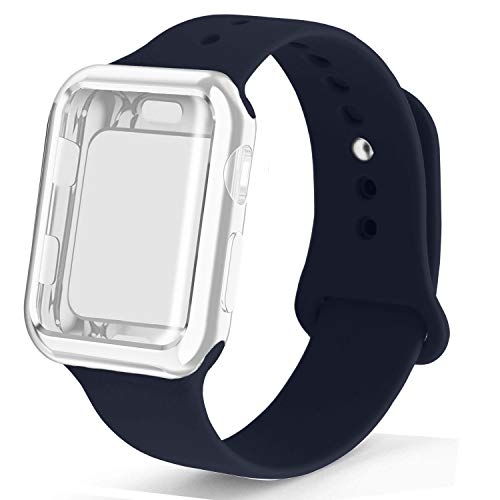 RUOQINI Smartwatch Band with Case Compatiable for Apple Watch Band, Silicone Sport Band and TPU Case for Series 4/3/2/1,Midnight Blue Band with Clear Case in 40SM Size