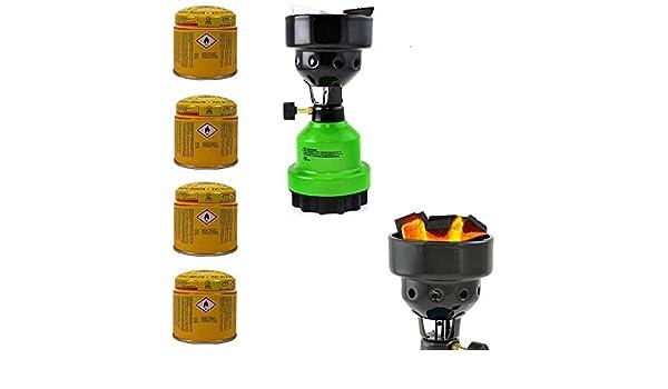 Encendedor de carb/ón para Camping hornillo de Gas Quemador de carb/ón con 3 Cartuchos de Gas Barbacoa Megaprom