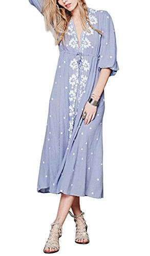 Women Ethnic Flower Embroidery Loose Cotton Linen Long Dress 4XL Blue (Sexy Mexican Woman)