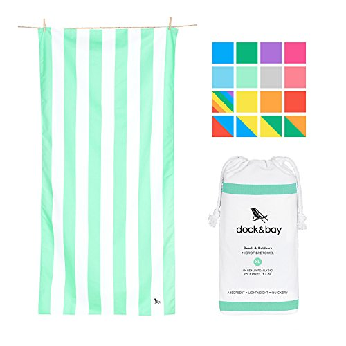 Dock & Bay Sand Proof Beach Towels Portable - Light Green, Extra Large 78x35 - mint green striped design travel towel