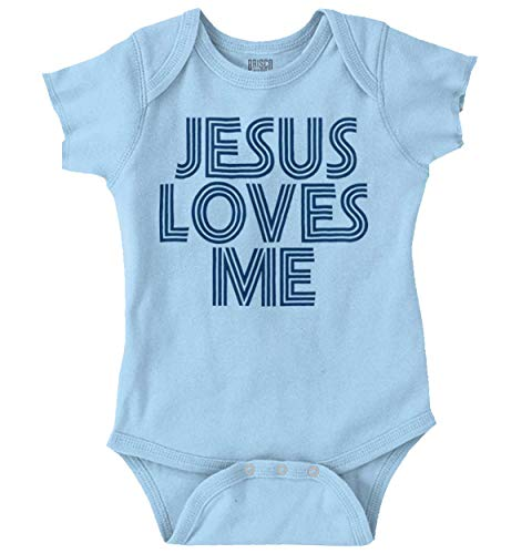 Jesus Loves Me Christian Christ Cute Funny Romper Bodysuit Light Blue -