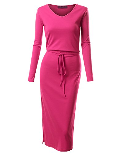 Doublju Long Sleeve Drawstring Waist V-Neck Cotton Blend Long Dress For Women With Plus Size FUSHSIA (Women Cotton Blend)