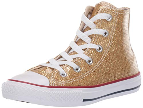 Converse Girls Kids' Chuck Taylor All Star Sport Sparkle High Top Sneaker, Gold/Enamel Red/White, 3 M US Little ()