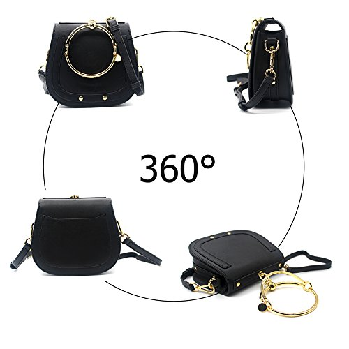 Circular Yoome Women Small Punk Girls Handbags For Bags Handle Black Round Crossbody Ring Purse rAFEA