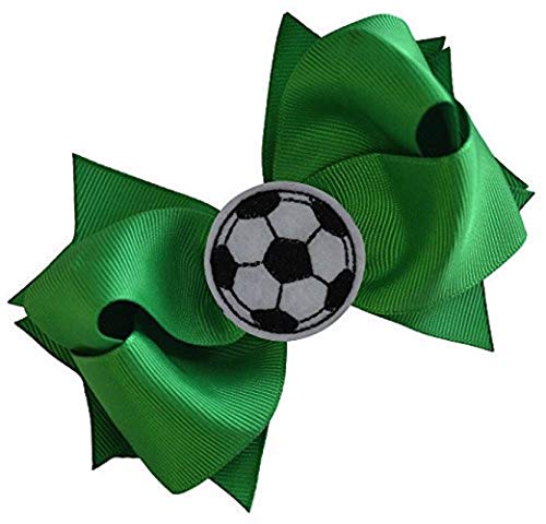 (SOCCER BALL BOW Girls 4.5 Inch Grosgrain Soccer Hair Bow with Embroidered Soccer Ball By Funny Girl Designs (Kelly Green))