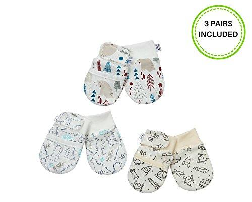 Darlyng & Co.'s Anti-Scratch Newborn Baby Mittens (0-6 months) Unisex -STAYS ON W/hook & loop closure- 3 pairs (Neutral- Unisex)