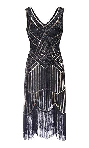 S-3xl Women's 1920s Gatsby Cocktail Sequin Beaded V-Neck
