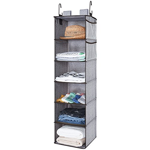 StorageWorks Closet Hanging Organizer, 2 Ways Dorm Closet Organizers with Thickened Board, Gray, 6 Shelves, Side Pockets, 12x12x42 inches ()