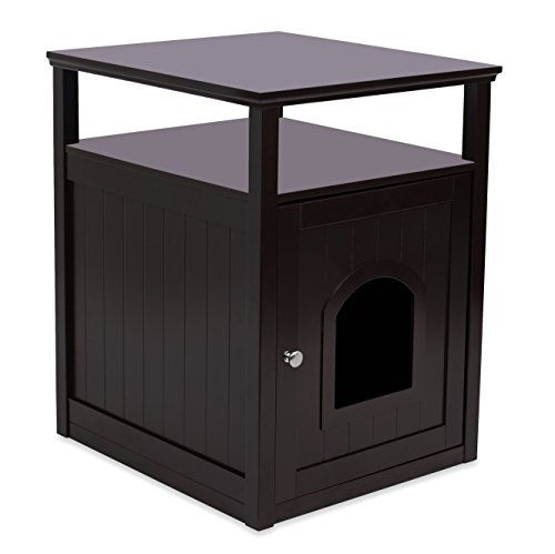 Internet's Best Decorative Cat House & Side Table with Storage Shelf | Cat Home Nightstand | Indoor Pet Crate | Litter Box Enclosure (Espresso)
