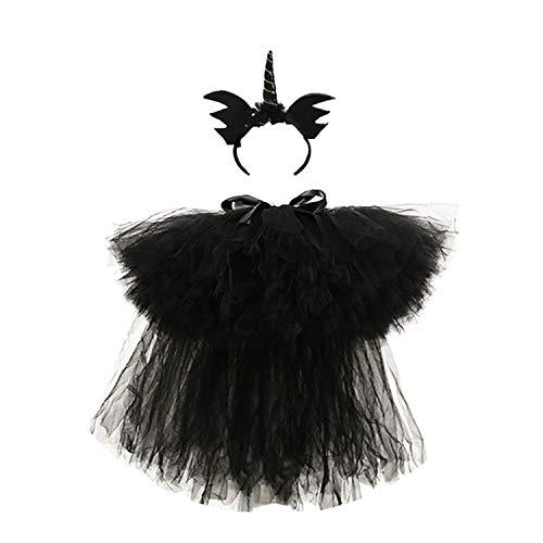 (Black Girl Tutu Skirt Fluffy Chiffon Lace Little Girls Birthday Wedding Party Tulle Skirts Kids Evil Halloween Costume,)