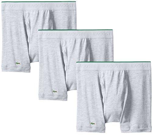 Lacoste Men's 3-Pack Essentials Cotton Boxer Brief, Grey, Medium - Essential Boxer Brief