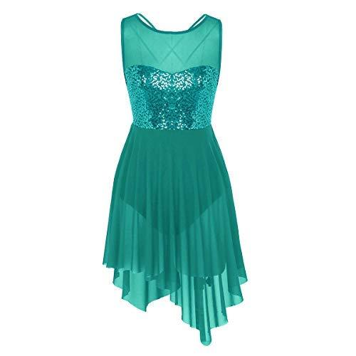 inlzdz Women's Lyrical Ballet Dance Costume Sweetheart Sequins Triangle Cut High-Low Dress (Small, Dark Green)]()