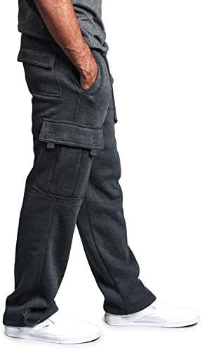 Men's Fleece Cargo Sweatpants Solid Heavyweight Casual Pants Fashion Sport Trousers with Pockets
