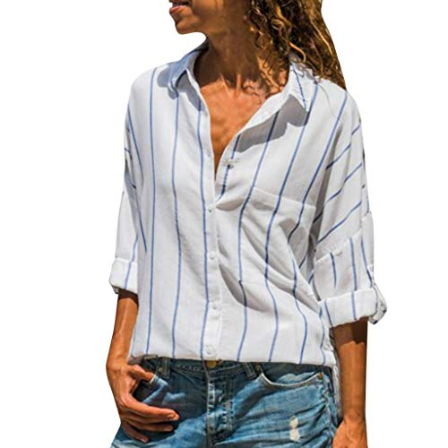 TIANRUN Womens Button Striped T Shirt Ladies Casual Loose Long Sleeve Top Office Work Summer Blouse
