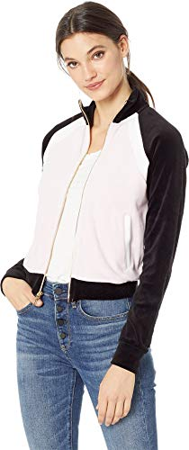Juicy Couture Women's Velour Color Blocked Zip-Up Pitch Black/Peek-A-Boo Large