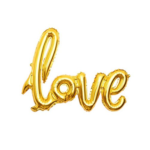 Greatstar 42.5 inch Love Balloon,Banner Balloon,Valentines Day Decorations and Gift,Rose Gold Latex Balloons,Wedding Bridal Shower Anniversary Engagement Party Decoration(1pcs) (Gold) -