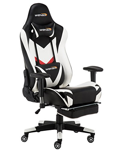 WENSIX Gaming Chair High Back Computer Chair With Adjusting Footrest, Ergonomic designs Extremely Durable PU Leather Steel Frame Racing Chair (White) by WENSIX