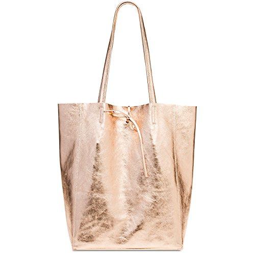 sac pour en Rose shopping CASPAR cuir sac Métallique TL781 cuir métallique femme Grand YqZYnOxpC