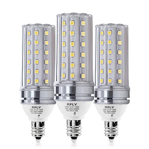 E12 LED Bulbs, 12W LED Candelabra Bulb 100 Watt Equivalent, 1200lm, Decorative Candle Base E12 Corn Non-Dimmable LED Chandelier Bulbs, Cool White 6000K LED Lamp, Pack of 3