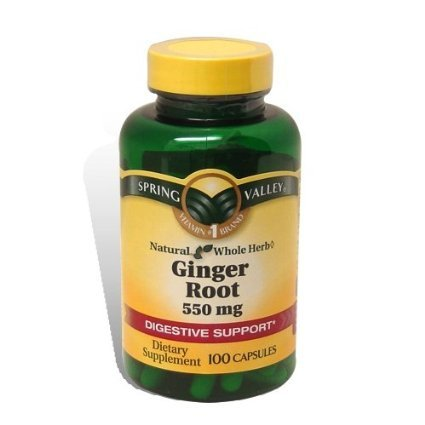 Spring Valley Whole Herb Ginger Root 550mg Per Capsule Digestive Health 100 Capsule Pack of 2s