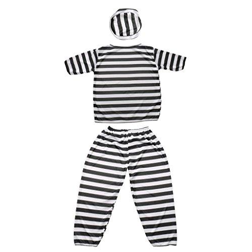 MonkeyJack Prisoner Uniform Boy Convict Criminal Jailbird Kid Striped Suit Cosplay Outfit (Boys Prisoner Costume)