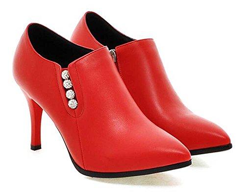Chfso Kvinna Elegant Stilett Rhinestone Fast Spetsig Tå Dragkedja Hög Klack Boots Röd