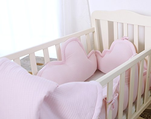 Pink 4 Piece Bedding Set - 3 clouds pillows bumper & blanket for Baby Crib, baby cot, baby bed by Pockets Baby & kids