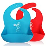 2 Waterproof Silicone Baby Bib Soft Cute Bibs for Toddlers Babies With Large Pocket Bibs. Baby Bibs Waterproof as Food Catcher Bib.