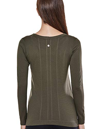 CRZ YOGA Women's Seamless Active Long Sleeve Workout Running Sports Leisure T-Shirt Dark Olive-Relaxed Fit-New L(12)