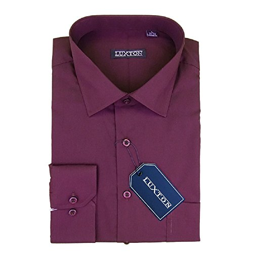 Luxton Cotton Poly Shirt Collection Regular Fit (Plum 617,Medium/Neck:15-15 1/2, Sleeve:32/33) ()