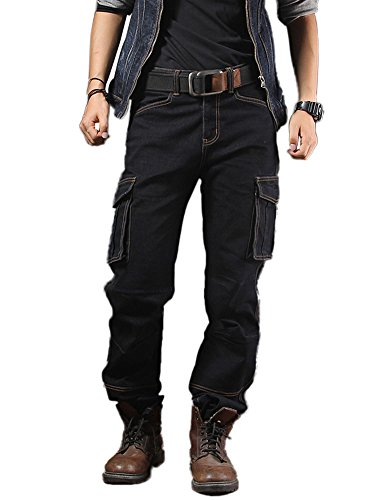 (Idopy Casual Motorcycle Workwear Multi Pockets Denim Biker Cargo Jeans Pants Black 32 )
