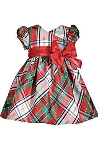 Bonnie Jean Short Sleeve Christmas Dress with Tartan Plaid and Bow at Waist 24 Months ()