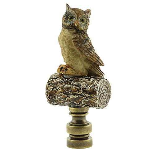 Painted Resin Owl On Log Lamp Finial with Antiqued Brass Base 3.25''h