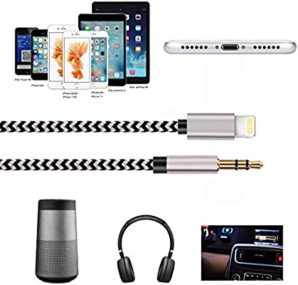 (Apple MFI Certified) Aux Cable for car,Nylon Braided 3 5mm Male Aux Audio  Cord Car Stereo Cable,Support iOS 12 or Later,Aux Cable Compatible with