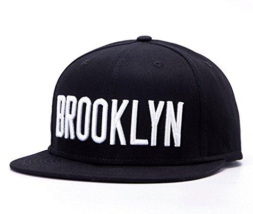[Home Prefer New Mens Brooklyn Embroidery Flat Brim Black Hats Snapback Baseball Caps] (Baseball Costume Accessories)