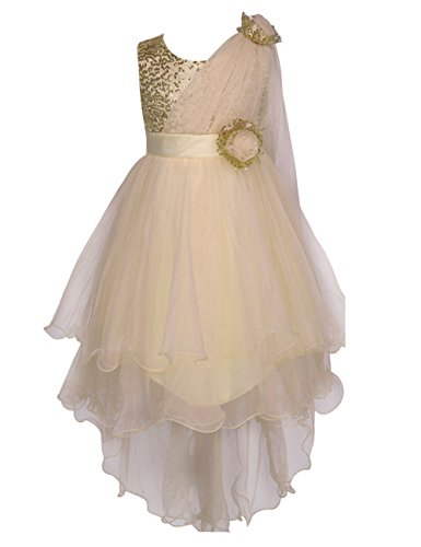 Colorful House Girls' Sequined Trailing Flower Formal Wedding Party Dress Gold, S(4) (Size 6)