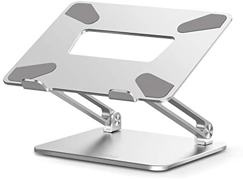 """Adjustable Laptop Stand, FLOPAD Ergonomic Standing Desk with Heat-Vent, Laptop Riser with Anti-Slip Silicone, Compatible with 10-17"""", MacBook Pro/Air, Dell, HP, Lenovo, and Surface Laptops, (Silver)"""