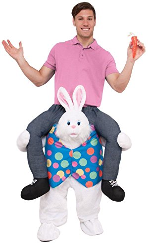 Forum Men's Hop on Top Ride-on Easter Bunny Costume, White, STD (Adult Bunny Halloween Costume)