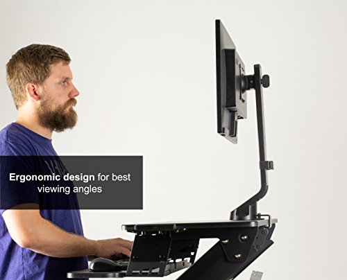 VIVO Black Adjustable Single Monitor Mount for Sit-Stand Workstation Desk Converter | Monitor Arm Fits One (1) Screen up to 32'' (STAND-V001U) by VIVO (Image #3)