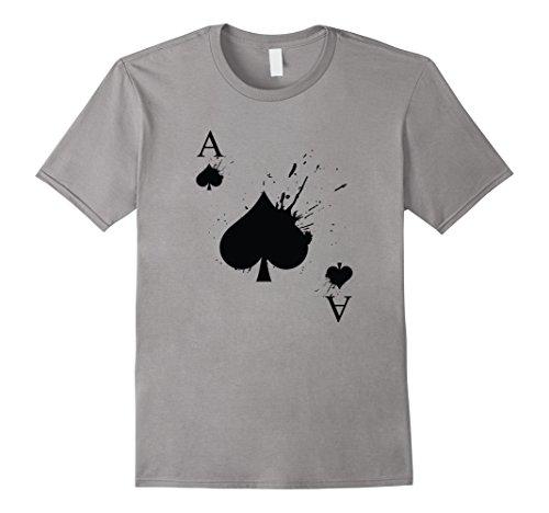 Mens Ace of Spades Halloween Costume T-shirt Large Slate