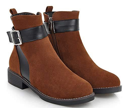 Bottine Brun Aisun Boots Courte Low Noire Classique Lanière Femme Tige xvUwRP