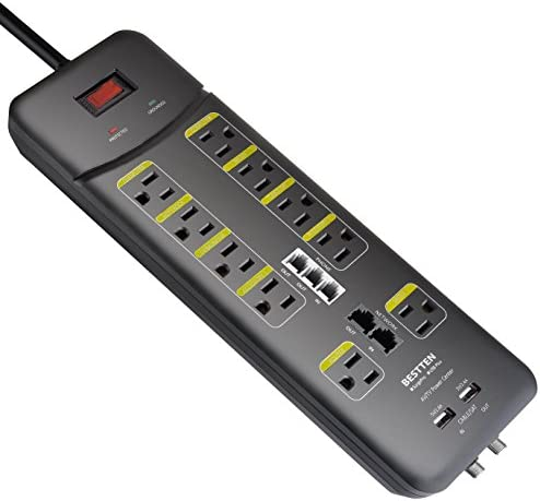 BESTTEN 3800-Joule Surge Protector, 10-Outlet All-in-One Power Strip with 2 USB Charging Ports 3.1A Total and Phone Ethernet Coaxial Protection, 9-Foot Ultra Long Extension Cord, ETL Listed, Black
